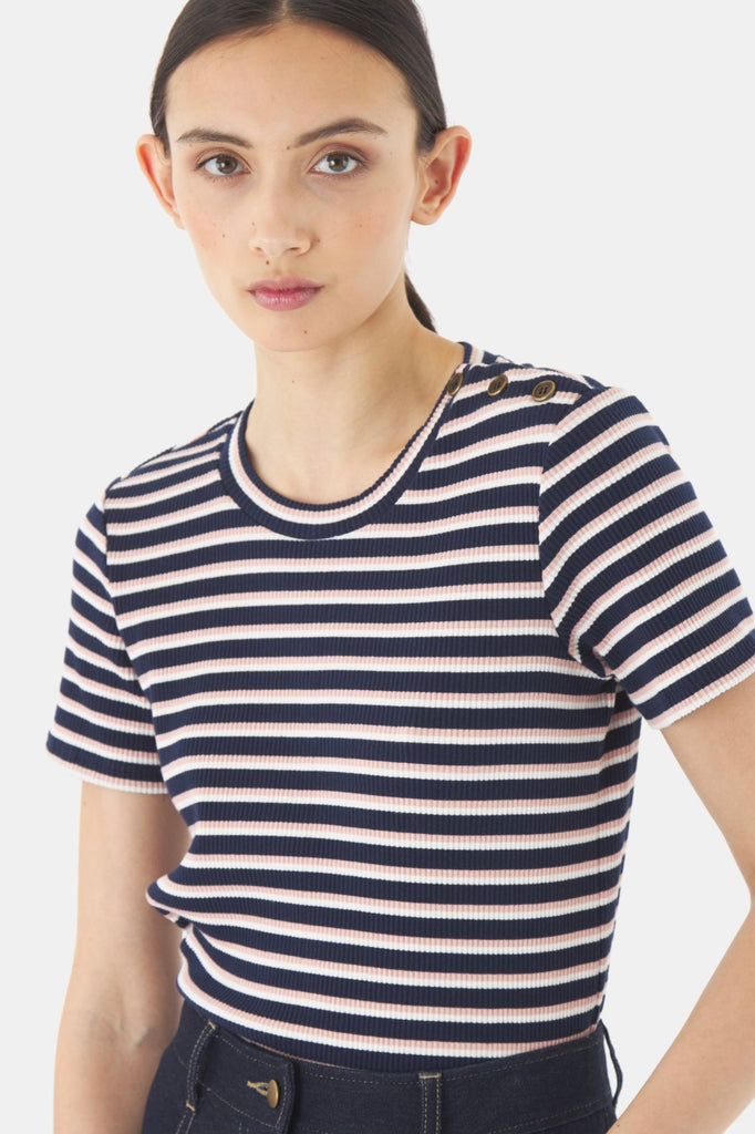 Sylvester Stripey T-Shirt is a ribbed cotton tee with a blue base and white and pink stripe. Super soft and comfortable this tee has a round neckline and buttoned shoulder. Perfect on its own or layer under your favourite sleeveless dress or jacket.  95% Cotton 5% Spandex Gentle cool hand wash