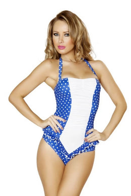 Zelina Blue And White Polkadot Scrunched Front Pinup Romper-Romper-Fab Fantasies