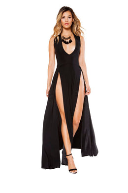 Amiyah Maxi Length Dress With Front Slits-Dress-Fab Fantasies