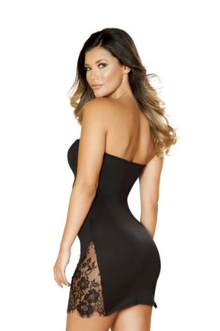 Image of Catherine Short Dress With Eyelash Lace Panels-Dress-Fab Fantasies