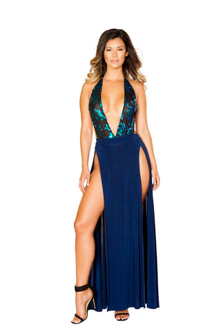 Image of Demi Sheer And Sequin Applique Dress-Dress-Fab Fantasies