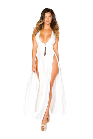 Lexi Maxi Length Dress With Front Slits-Dress-Fab Fantasies