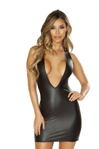 Paisleigh Leather Look Dress-Dress-Fab Fantasies