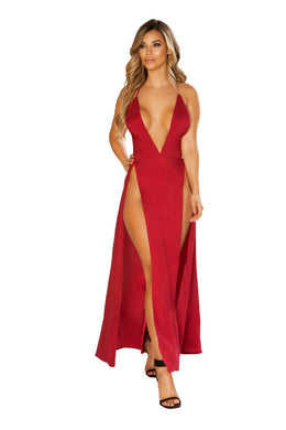 Dylan Red Maxi Length Satin Dress-Dress-Fab Fantasies