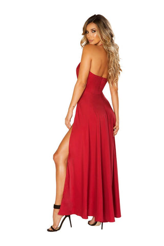 Image of Dylan Red Maxi Length Satin Dress-Dress-Fab Fantasies