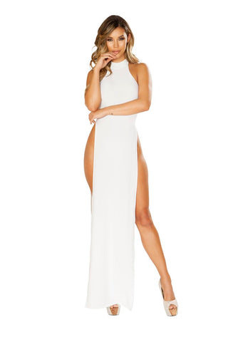Diana Maxi Length Halter Neck Dress With High Slits-Dress-Fab Fantasies