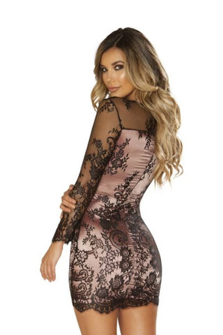 Pamela Long Sleeved Eyelash Lace Dress-Dress-Fab Fantasies