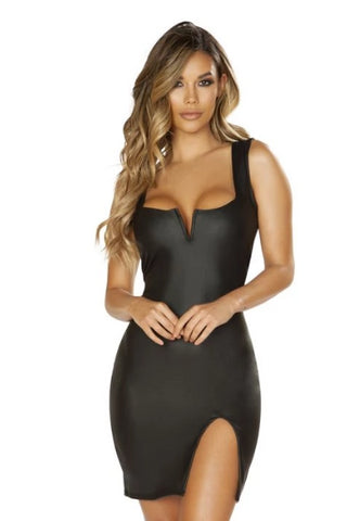 Maggie Leather Look Dress-Dress-Fab Fantasies