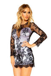 Naomi Long Sleeved Eyelash Lace Dress With White Satin Lining-Dress-Fab Fantasies
