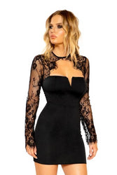 Mercy Long Sleeved Eyelash Lace Dress With V Wire-Dress-Fab Fantasies