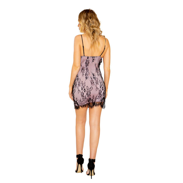 Gracelyn Eyelash Lace Mini Dress With Contrast Color Lining-Dress-Fab Fantasies