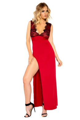 Eliza Maxi Length Eyelash Lace Dress With High Slit-Dress-Fab Fantasies