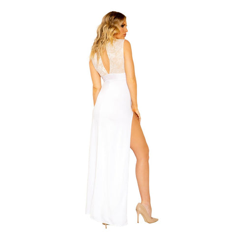 Image of Eliza Maxi Length Eyelash Lace Dress With High Slit-Dress-Fab Fantasies