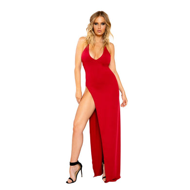 Kenzie Maxi Length Dress With Deep V Detail And High Slit-Dress-Fab Fantasies