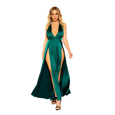 Savanna Maxi Length Satin Dress With High Slits And Deep Cut-Dress-Fab Fantasies