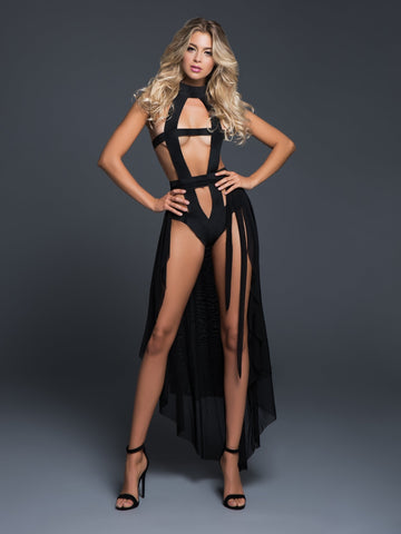 Nathalie edgy teddy and sheer skirt-Skirt-Fab Fantasies