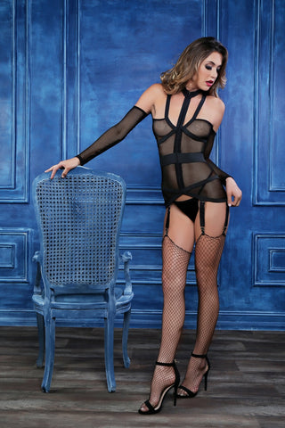 Chloe untamed heart corselette with garters-Corset-Fab Fantasies