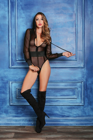 Naya sweet & delicious fishnet body with hoody & cut out back-Bodysuit-Fab Fantasies