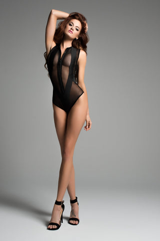 Sienna sheer sleeveless bodysuit with wild zipper front-Bodysuit-Fab Fantasies