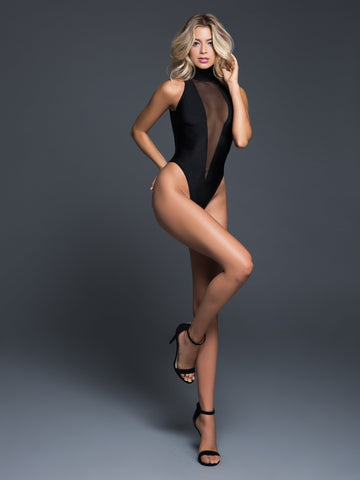 Alanna sleeveless bodysuit with plunging front-Bodysuit-Fab Fantasies