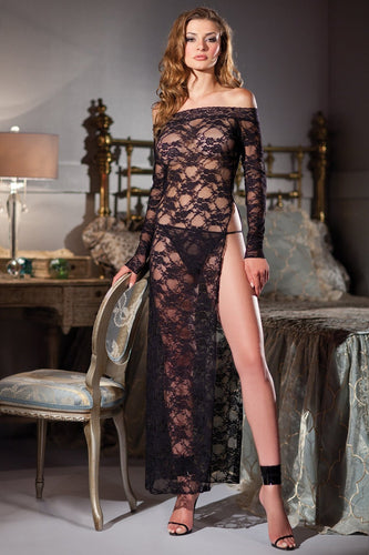 Gabrielle Boat Neck Full Length Lace Gown-Gown-Fab Fantasies