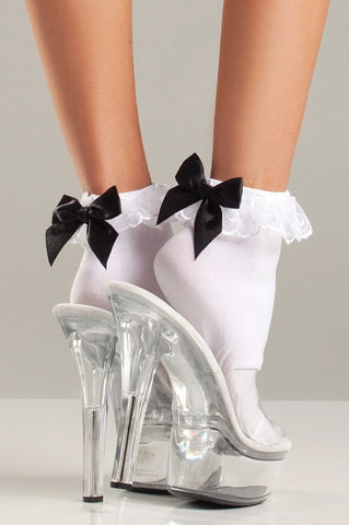 Megan Ruffle-top and Satin Bow Ankle Socks-Anklet-Fab Fantasies
