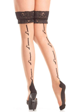 """L'Amour"" back seam Thigh Highs"