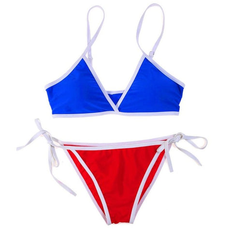 Blue and Red Push-Up Bra Bikini Set-Bikinis-Fab Fantasies