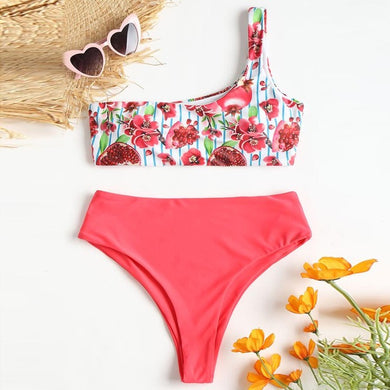 Asymmetrical Bikini Set with Flower Print Design-Bikinis-Fab Fantasies