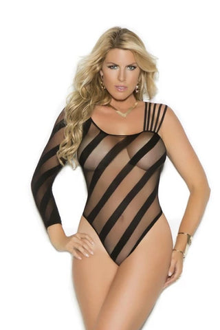 Image of Esther Sheer Crotchless Burnout Teddy-Teddy-Fab Fantasies