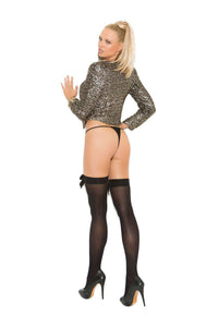 Sage Opaque Thigh Hi With Satin Bow-Thigh hi-Fab Fantasies
