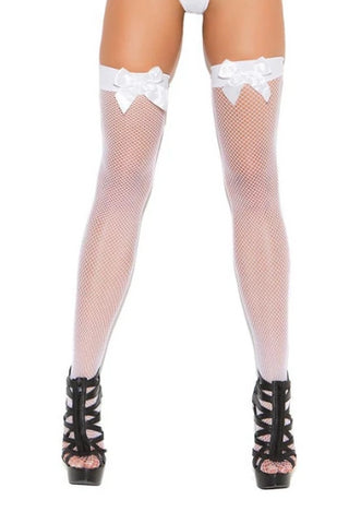 Image of Brylee Fishnet Thigh Hi W/ Bow Top-Thigh hi-Fab Fantasies