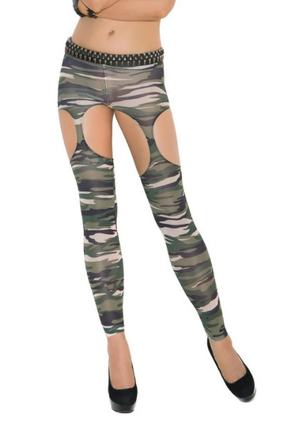 Sabrina Camo Leggings W/ Cut Outs-Leggings-Fab Fantasies