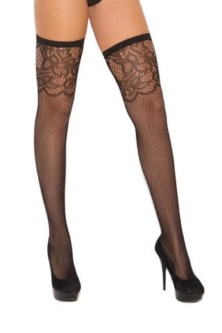 Aliyah Fishnet Thigh Hi W/scroll Top-Thigh hi-Fab Fantasies