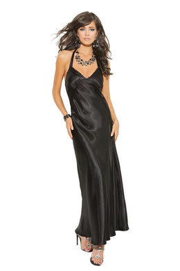 Ella Black Satin Halter Neck Gown-Gown-Fab Fantasies