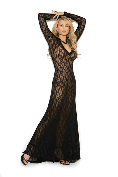 Charleigh Black Long Sleeve Lace Gown-Gown-Fab Fantasies