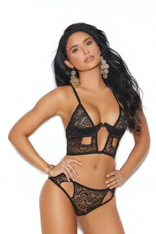 Image of Dulce Lace Demi Cup Bra & Panty-Bra Set-Fab Fantasies