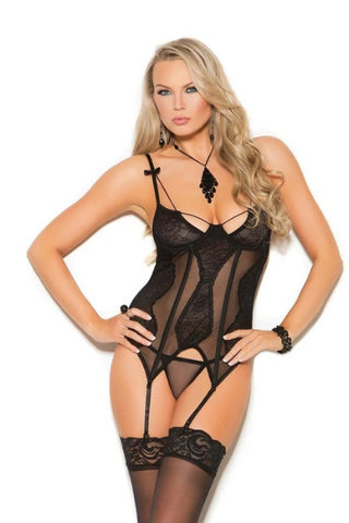 Marianna Mesh & Lace Bustier W/g-string-Bustier-Fab Fantasies