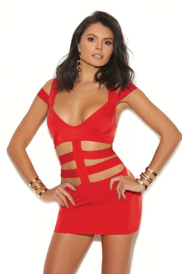 Bristol Lycra Mini Dress W/ Cut Outs-Dress-Fab Fantasies