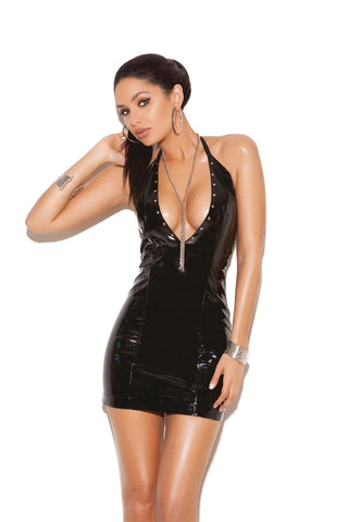 Lexie Vinyl Halter Dress With Studs-Wet Dress-Fab Fantasies