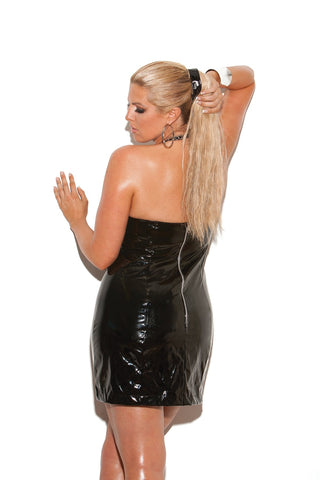Adelyn Vinyl Halter Dress W/ Studs-Wet Dress-Fab Fantasies