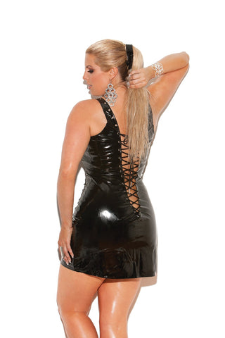 Riya Black Vinyl Dress W/ Lace Up F-Wet Dress-Fab Fantasies