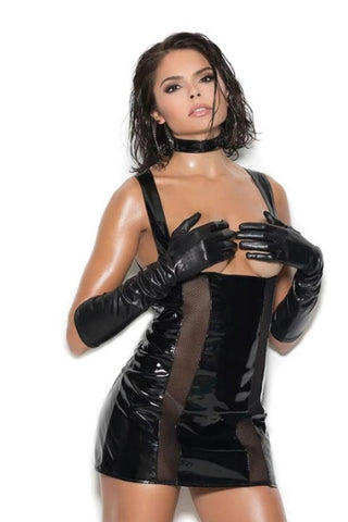 Sadie Vinyl & Fishnet Cupless Dress-Wet Dress-Fab Fantasies