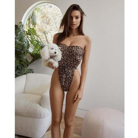 Image of Fabulous High Waist Leopard Print Swimsuit-Bikinis-Fab Fantasies