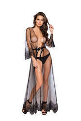 Irene Eyelash Lace Sheer Maxi Length Robe-Robe-Fab Fantasies