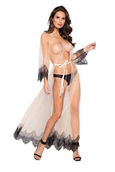 Oakley Elegant Sheer Maxi Length Robe With Eyelash Lace Detail-Robe-Fab Fantasies