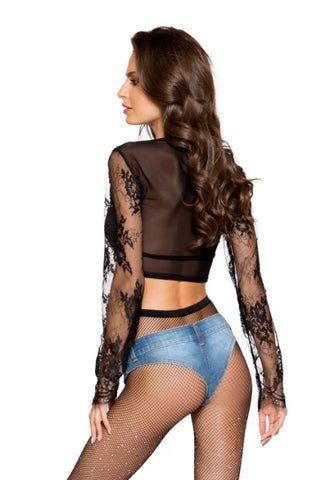 Alisha Long Sleeved Eyelash Lace Crop Top-Top-Fab Fantasies