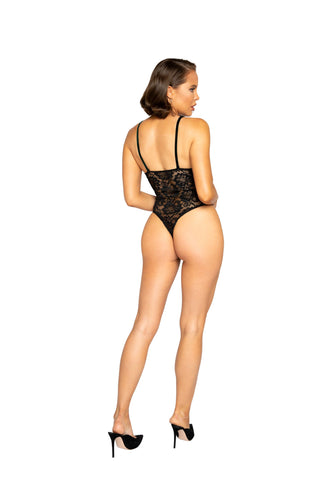 Amalia Velvet & Lace Teddy With Lace-Up Trim