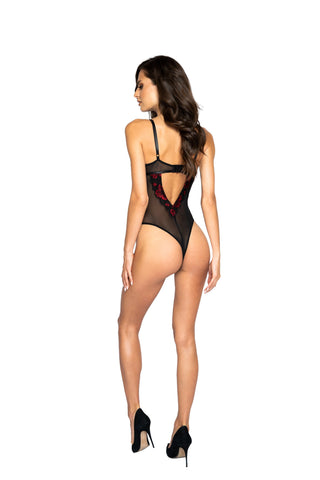 Elianna Floral Lace & Mesh Teddy With Lace-Up Trim