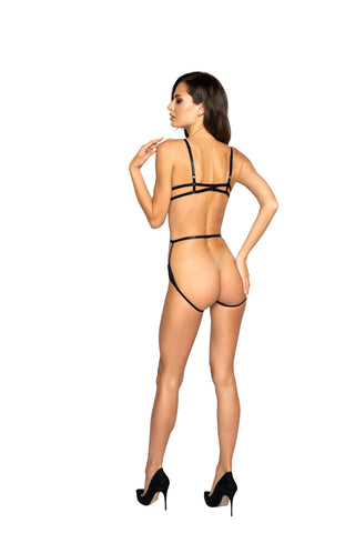 Jemma Glittered Multiple Cutout Crotchless Teddy